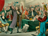 "Patrick Henry gives his ""Give me Liberty or Give me Death!"" Speech at St. John's Church."